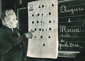Dr Maria Montessori lecturing